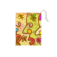 Abstract Faces Abstract Spiral Drawstring Pouches (Small)