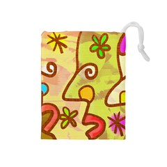 Abstract Faces Abstract Spiral Drawstring Pouches (medium)