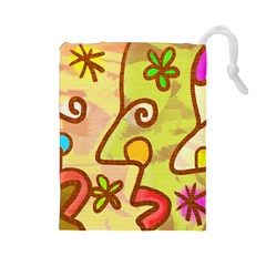 Abstract Faces Abstract Spiral Drawstring Pouches (large)