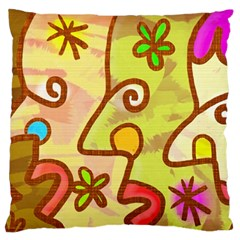 Abstract Faces Abstract Spiral Large Flano Cushion Case (one Side)
