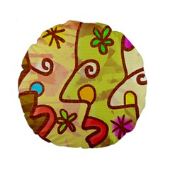 Abstract Faces Abstract Spiral Standard 15  Premium Flano Round Cushions