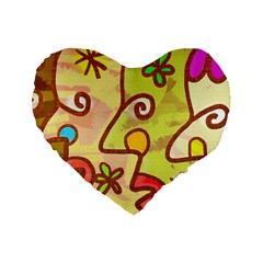 Abstract Faces Abstract Spiral Standard 16  Premium Flano Heart Shape Cushions