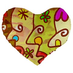 Abstract Faces Abstract Spiral Large 19  Premium Flano Heart Shape Cushions
