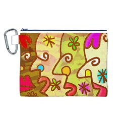 Abstract Faces Abstract Spiral Canvas Cosmetic Bag (l)