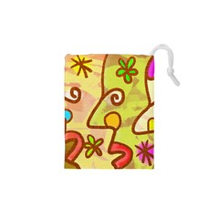 Abstract Faces Abstract Spiral Drawstring Pouches (xs)