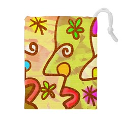 Abstract Faces Abstract Spiral Drawstring Pouches (Extra Large)