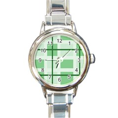 Abstract Green Squares Background Round Italian Charm Watch