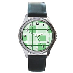 Abstract Green Squares Background Round Metal Watch