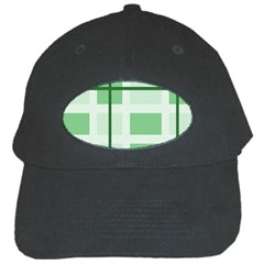 Abstract Green Squares Background Black Cap
