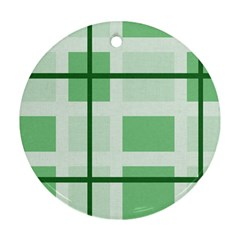 Abstract Green Squares Background Ornament (Round)