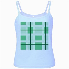 Abstract Green Squares Background Baby Blue Spaghetti Tank