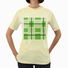 Abstract Green Squares Background Women s Yellow T-Shirt