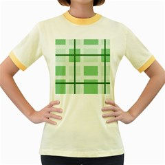 Abstract Green Squares Background Women s Fitted Ringer T Shirts