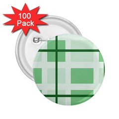 Abstract Green Squares Background 2.25  Buttons (100 pack)