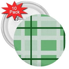 Abstract Green Squares Background 3  Buttons (10 pack)