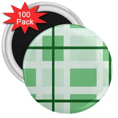 Abstract Green Squares Background 3  Magnets (100 Pack)