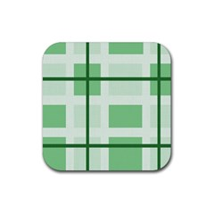 Abstract Green Squares Background Rubber Square Coaster (4 Pack)