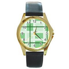 Abstract Green Squares Background Round Gold Metal Watch