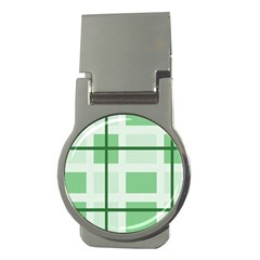 Abstract Green Squares Background Money Clips (round)