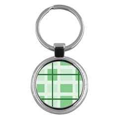 Abstract Green Squares Background Key Chains (round)