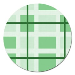 Abstract Green Squares Background Magnet 5  (round)
