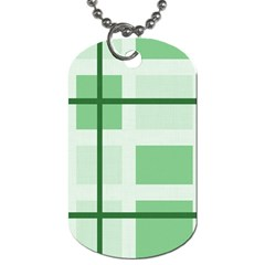 Abstract Green Squares Background Dog Tag (two Sides)