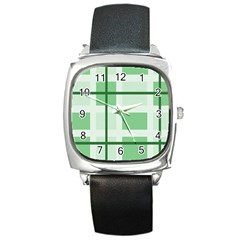 Abstract Green Squares Background Square Metal Watch
