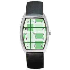 Abstract Green Squares Background Barrel Style Metal Watch