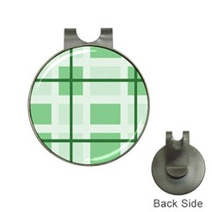 Abstract Green Squares Background Hat Clips With Golf Markers