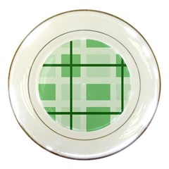 Abstract Green Squares Background Porcelain Plates