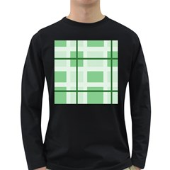 Abstract Green Squares Background Long Sleeve Dark T Shirts