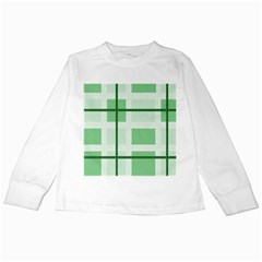 Abstract Green Squares Background Kids Long Sleeve T Shirts