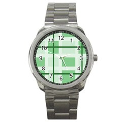 Abstract Green Squares Background Sport Metal Watch