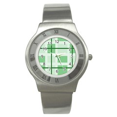 Abstract Green Squares Background Stainless Steel Watch