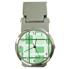 Abstract Green Squares Background Money Clip Watches