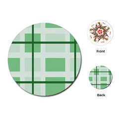 Abstract Green Squares Background Playing Cards (round)