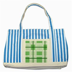 Abstract Green Squares Background Striped Blue Tote Bag