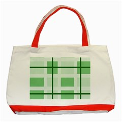 Abstract Green Squares Background Classic Tote Bag (Red)