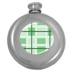 Abstract Green Squares Background Round Hip Flask (5 Oz)