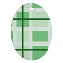 Abstract Green Squares Background Oval Ornament (two Sides)