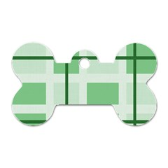Abstract Green Squares Background Dog Tag Bone (two Sides)