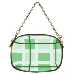Abstract Green Squares Background Chain Purses (one Side)