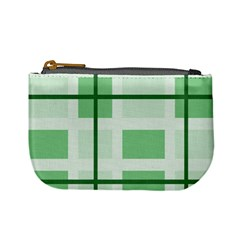 Abstract Green Squares Background Mini Coin Purses