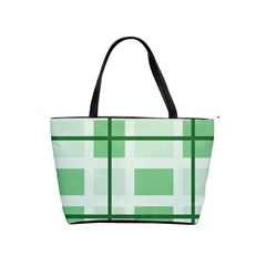 Abstract Green Squares Background Shoulder Handbags