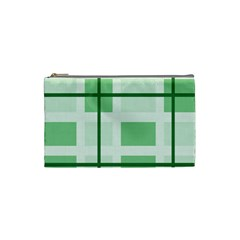 Abstract Green Squares Background Cosmetic Bag (small)