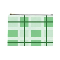 Abstract Green Squares Background Cosmetic Bag (large)