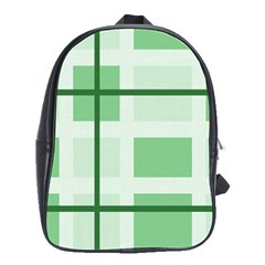 Abstract Green Squares Background School Bags(large)