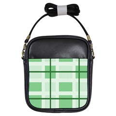 Abstract Green Squares Background Girls Sling Bags