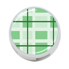 Abstract Green Squares Background 4 Port Usb Hub (one Side)