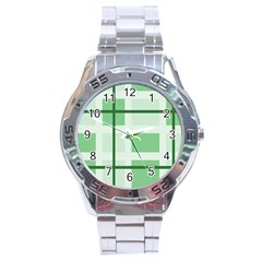 Abstract Green Squares Background Stainless Steel Analogue Watch